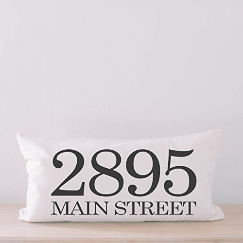 Lumbar Pillow - Personalized Address, home decor, wedding gift, engagement present, housewarming gift, cushion cover, throw pillow