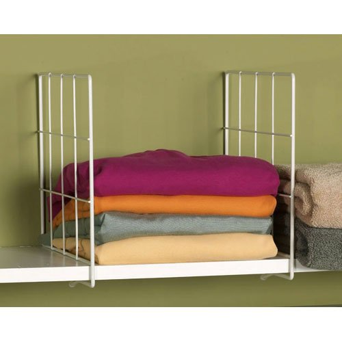 HomyDelight White Wire Shelf Dividers (Set of 2) 2.5 lbs 2'' 10'' 12'' by HomyDelight