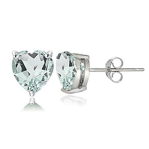 Sterling Silver Aquamarine 7mm Heart Stud Earrings