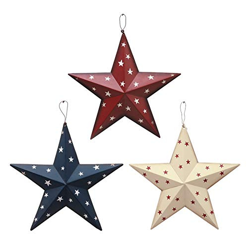 4th of July Independence Day Americana Patriotic Barn Metal 3D Stars Wall Decor Set of 3 Blue/Red/White