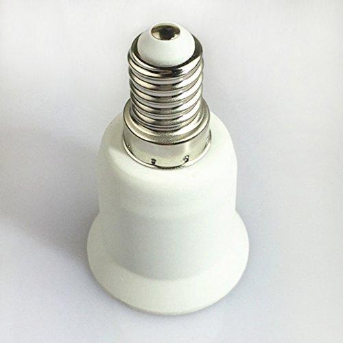 Adaptador de casquillo E14 a E27 con casquillo de luz LED, soporte para lámpara, adaptador ignífugo convertidor, Blanco