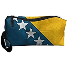 WEEDKEYCAT Retro Bosnia Herzegovina Flag Travel Cosmetic Bag Pen Pencil Portable Toiletry Brush Storage,Multi-function Accessories Sewing Kit Bags Pouch Makeup Carry Case With Zipper