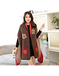 nwn Shawl Scarf Dual-use Female Winter Korean Version of The Wild Cloak Jacket to Keep Warm Large Cloak (Color : B)