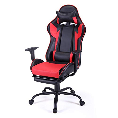 red gaming pu leather racing