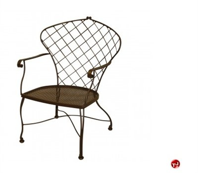 Grid Outdoor Wrought Iron DIning Arm Chair