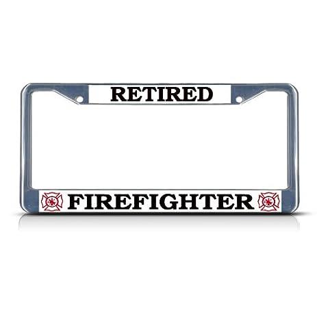 Amazon.com: RETIRED FIREFIGHTER Chrome Heavy Duty Metal License ...