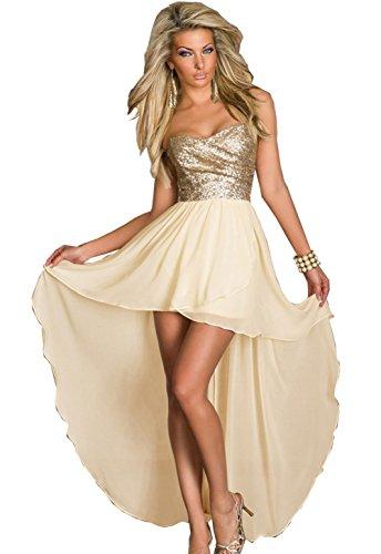 Findci Women Charming Sleeveless Sequined Top Asymmetric Chiffon Spliced Prom Long Dress (S, Yellow) (Sequined Chiffon Dress)