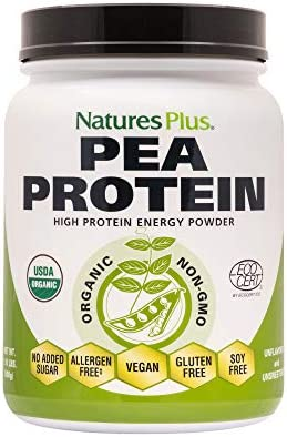 NaturesPlus Organic Pea Protein – 1.1 lbs, Vegan Drink Powder – High Energy Protein Powder, Hunger Suppressant, Muscle Builder, Promotes Heart Health – Non-GMO, Vegetarian, Gluten-Free – 25 Servings