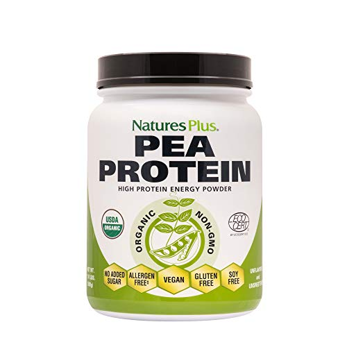 NaturesPlus Organic Pea Protein - 1.1 lbs, Vegan Drink Powder - High Energy Protein Powder, Hunger Suppressant, Muscle Builder, Promotes Heart Health - Non-GMO, Vegetarian, Gluten-Free - 25 Servings ()