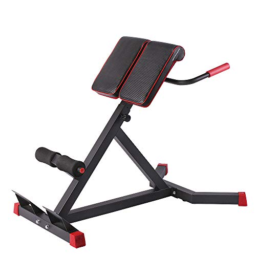 sportsroyals Adjustable Roman Chair -A Hyper Ab Bench for Ab/Back Extension/dip Station Multi-Workout Home Gym, 440lbs (Black) (Black & red)