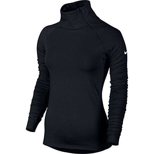New Nike Women's Pro Warm Zip L/S Shirt Black/White Medium
