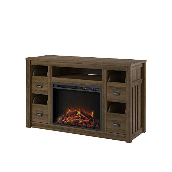 """Ameriwood Home Adams TV Stand with Fireplace for TVs up to 55"""", Brown Oak"""
