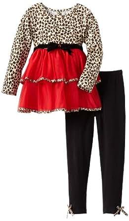 Rare Editions Little Girls' Mesh Cheetah Leg Set, Red/Black/Print, 5