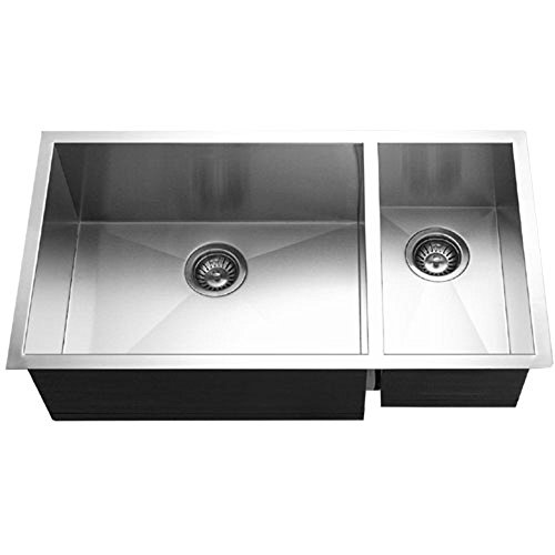 Contempo Series Undermount Stainless Steel 70/30 Double Bowl Kitchen Sink, Prep bowl Right - Houzer CTO-3370SR