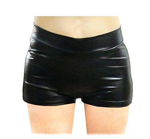 SACASUSA (TM) Shiny Stretchy Metallic Mini Shorts Hot Pants in Black Small]()
