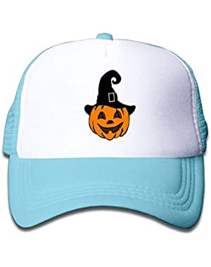 Pumpkin with Witch Hat3 On Kids Trucker Hat, Youth Toddler Mesh Hats Baseball Cap