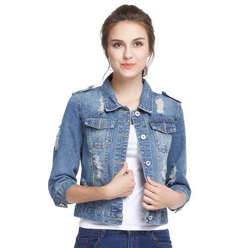 Strappato Bavero Accogliente Blau Tasche Cappotto Women Manica Lunga Donna Corto Jeans Autunno Casual Giovane Anteriori Giacche Giaccone Elegante Moda wUHqAPZUzx