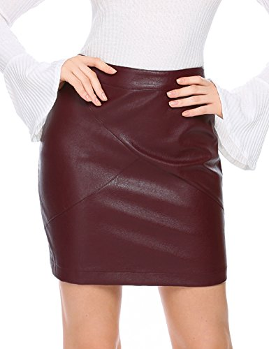 - Zeagoo Women Classic High Waisted Faux Leather sexy bodycon Slim Mini Pencil Skirt(Dark Red L)