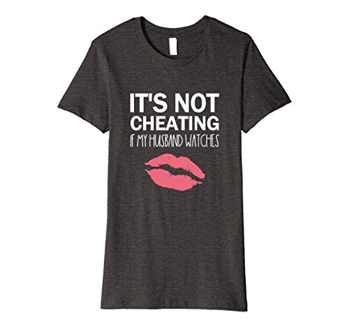 Womens It's Not Cheating If My Husband Watches T Shirt Large Dark Heather