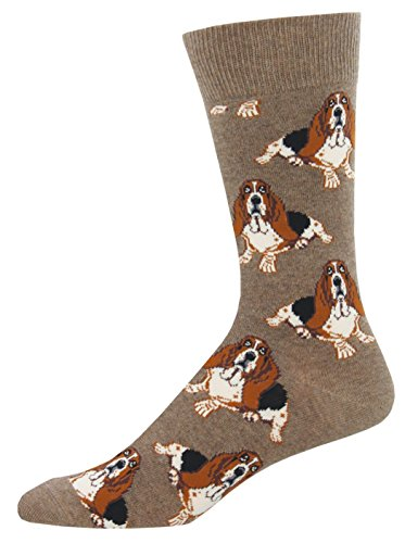 "Socksmith Mens' Novelty Crew Socks ""Nothing But a Hound Dog"" (Lt. Brown Heather)"