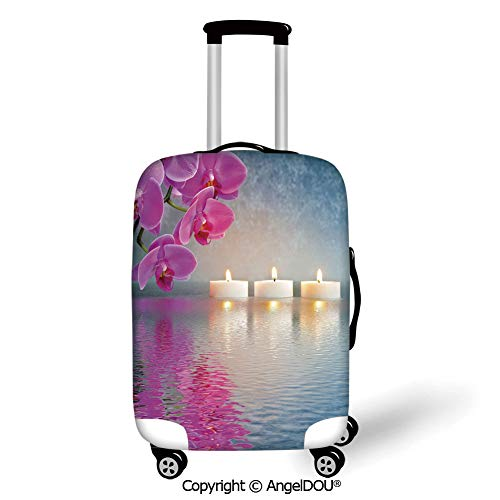 AngelDOU Luggage Suitcase Elastic Protective Covers Zen Japanese Candle Relaxing Environment Cherry Blossoms Asian Inspirations Image Decorative Lavander Pink Blue for men women travel business.