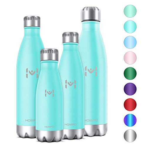Small Reusable Water Bottles (HOMPO Stainless Steel Water Bottle - 12oz/ 350ml BPA Free Vacuum Insulated Metal Reusable Water Bottle, Double Walled Keeps Hot & Cold Leak Proof Drinks Bottle for Kids, Sports,)