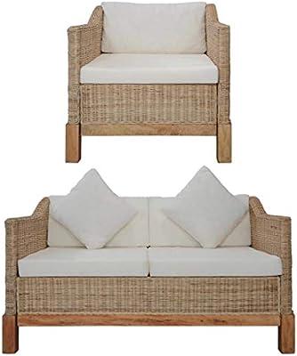 vidaXL Conjunto Muebles Jardín Ratán Natural Patio Terraza 2 Piezas Set Sofá 2 Plazas + Sillón Mimbre + Cojines Asiento Respaldo y Decorativos Crema: Amazon.es: Hogar