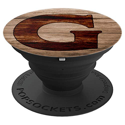 Letter G Wood Burnt Grain - PopSockets Grip and Stand for Phones and Tablets
