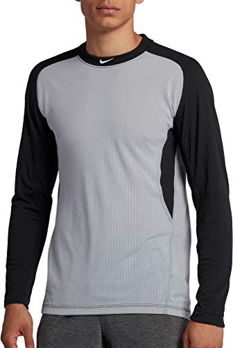 (Nike Men's Long Sleeve Baseball Top Wolf Grey/Black/White Size Medium)