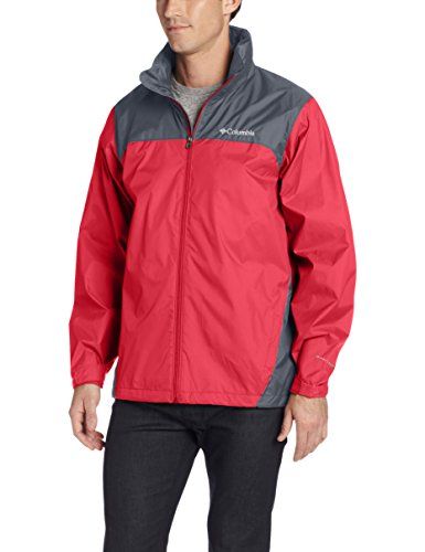 Columbia Men's Glennaker Lake Front-Zip Rain Jacket with Hideaway Hood, Mountain Red/Graphite, Large