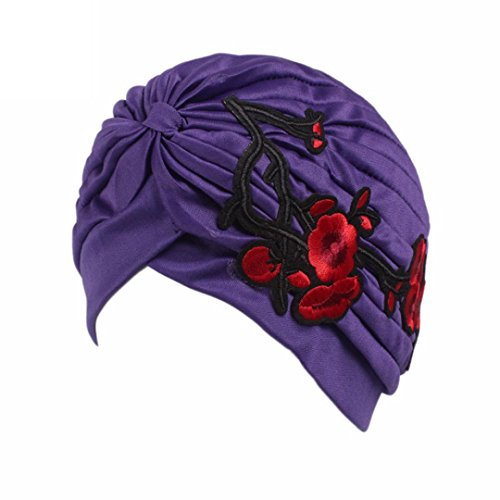 QingFan Women Girl Floral Flower Embroidery Chemo Hat Beanie Turban Wrap Cap for Cancer (Purple)