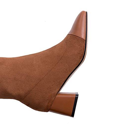 Zpedy américain quotidien chaussures et sauvage bottines caramel européen confortable pour femmes style mode wBRHpqw