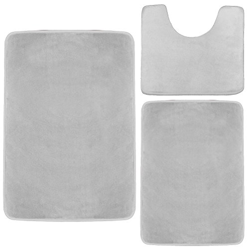 Clara Clark Memory Foam Bath Mat, Ultra Soft Non Slip and Absorbent Bathroom Rug. - Silver, Set of 3 - Small/Large/Contour ()