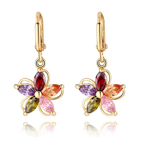 Newest trent Colorful Zircon Flower Shaped Earrings Women's Floral Crystal Pendant Ear Studs
