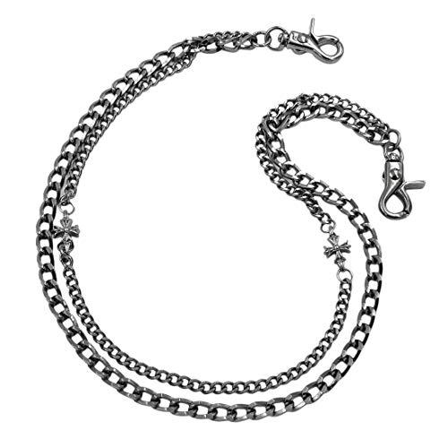 [해외]Uniqsum 2 라인 플레어 크로스 지갑 체인 바이 자동차 열쇠 체인 SY115B (건 메탈) / Uniqsum Two Row Flare Cross Wallet Chain Biker Keychain SY115B (Gunmetal)