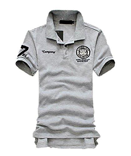 [アルファジ] メンズ ポロシャツ 半袖 胸 刺繍 ワッペン ロゴ入り ゴルフ スポーツ 夏 カジュアルウエア