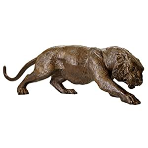 Garden Gallery Bronze Statuary Prowling Tiger Statue, 105.5 cm, Real Cast Bronze, Brown Sepia