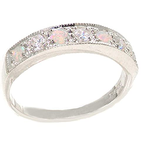 925 Sterling Silver Natural Diamond and Opal Womens Band Ring (0.18 cttw, H-I Color, I2-I3 Clarity) - Sterling Silver Diamond Antique Ring