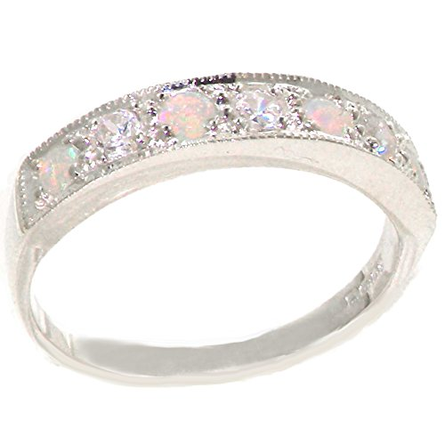14k White Gold Natural Diamond and Opal Womens Band Ring - Sizes 4 to 12 Available