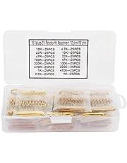 High Precision Carbon Resistors,400Pcs 1/2W 16 Values 10ohm-1Mohm Carbon Resistors Set Assortment Components Kit,Electronic Component
