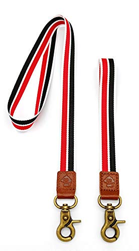 Card Monkey Holder (Happy Monkey Neck Lanyards Hand Wrist Lanyard Quality Strap with Metal Clasp and Genuine Leather for Key Chain/ID Card/Badge Holder etc (2Pack))
