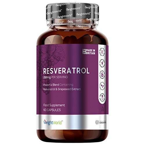 Pure Resveratrol Capsules – 250mg – 60 Capsules – Pure Concentrated Red Grape Extract Complex for Ageing, Skin, Cell…