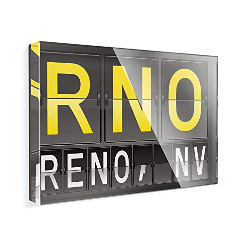 Acrylic Fridge Magnet RNO Airport Code for Reno, NV NEONBLOND (Nv Port)