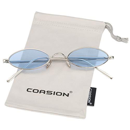 Vintage Small Oval Sunglasses for Women Men Hippie Cool Metal Frame Sun Glasses (Silver Frame/Blue Lens)