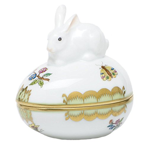 Herend Queen Victoria Egg Box with Bunny Rabbit Porcelain -
