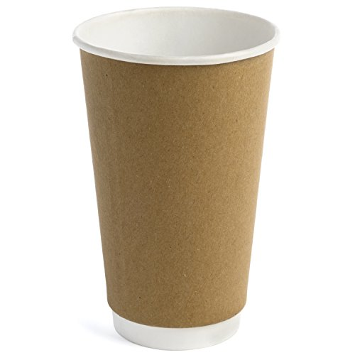 (Earth's Natural Alternative Double Wall Kraft Paper Coffee Cup 16 oz, Tan, 50 Count)
