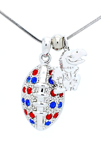 University of Kansas Football Necklace - Large - Royal and Red Crystals - Jayhawks