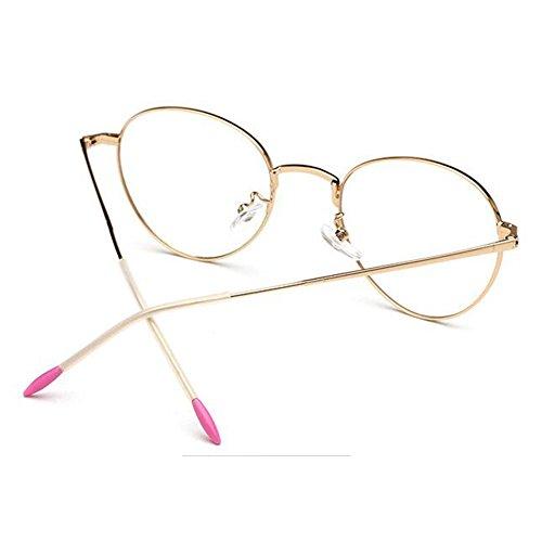 Y Gafas anteojos Retro Oval Clear para UV400 de Moda fatiga lente los Marco Anti primavera y Oro Mujer Deylaying Bisagra Púrpura Vendimia Hombres qtadnw1x1