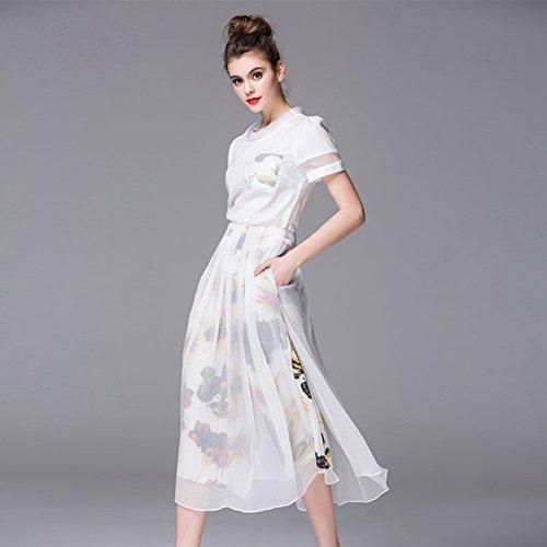 Women`s Neck Scoop High Dress Dresses Pockets Waist Sleeve Short Maxi cotyledon with B7qF4OO