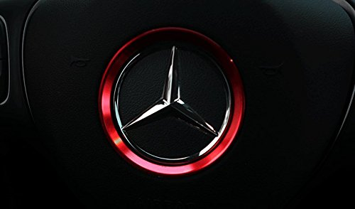 Decorative Steering Wheel Logo Cover for Mercedes Benz C63 AMG W205 C450 2014 2015 2016 (Red) (C63 Amg)